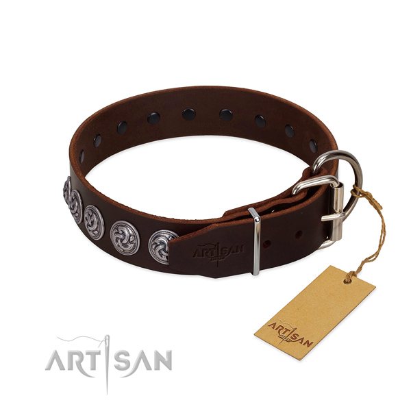 Strong hardware on leather dog collar for daily walking your pet
