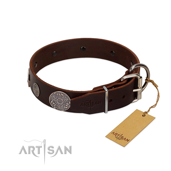 Convenient genuine leather collar for your attractive doggie