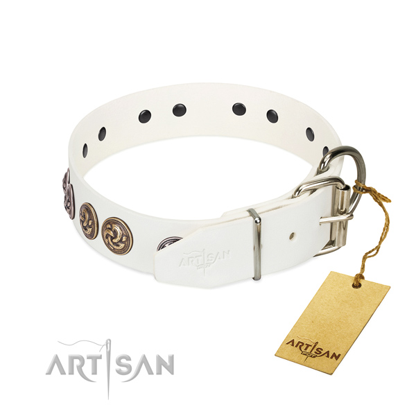Corrosion proof buckle on handmade full grain genuine leather dog collar