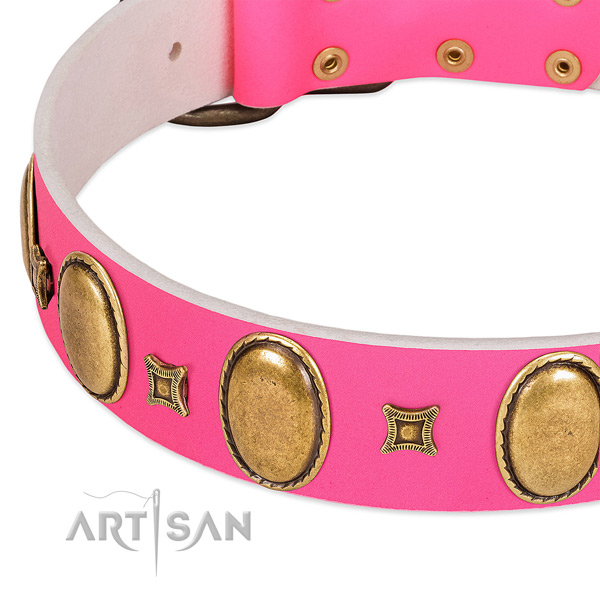 Top rate natural leather dog collar with studs for comfortable wearing