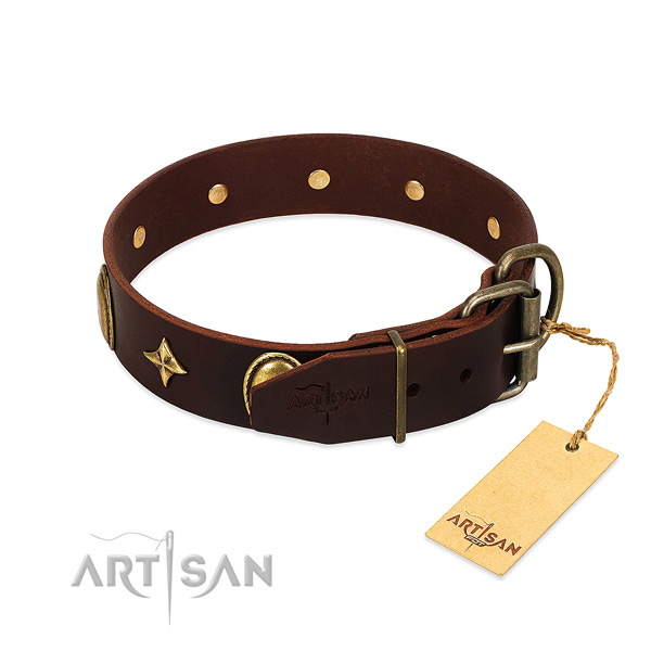 Durable full grain leather dog collar with corrosion proof decorations