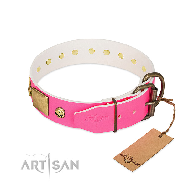 Rust resistant embellishments on top notch natural leather dog collar
