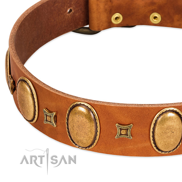 Natural leather dog collar with corrosion proof buckle for comfortable wearing