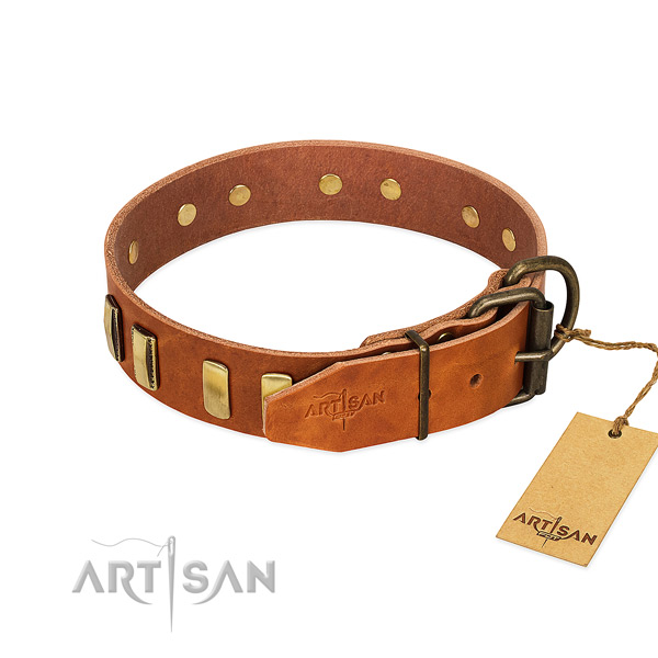 High quality full grain genuine leather dog collar with reliable hardware