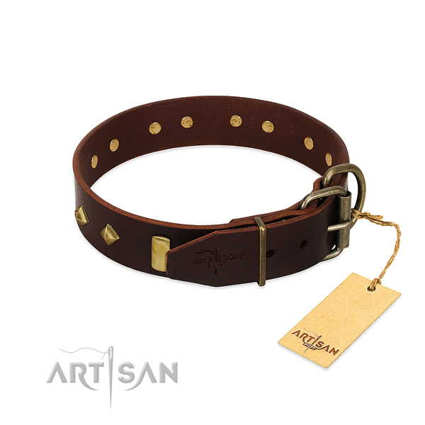 Leather dog collar with corrosion resistant traditional buckle for easy wearing