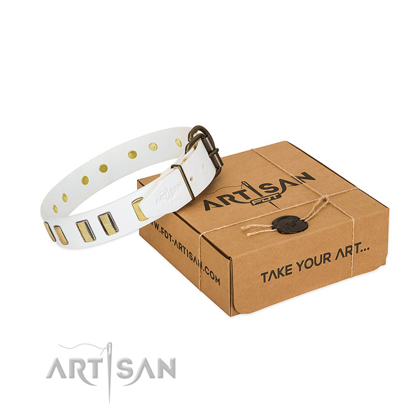 Full grain natural leather dog collar with corrosion resistant buckle for comfy wearing