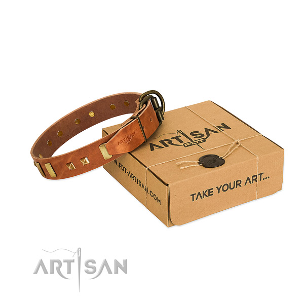 Flexible full grain natural leather dog collar with embellishments for handy use