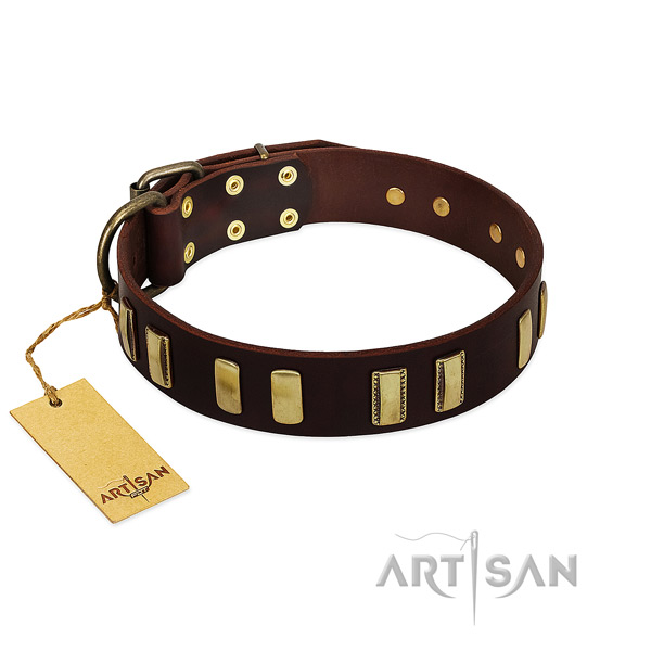 Full grain genuine leather dog collar with rust-proof buckle for handy use