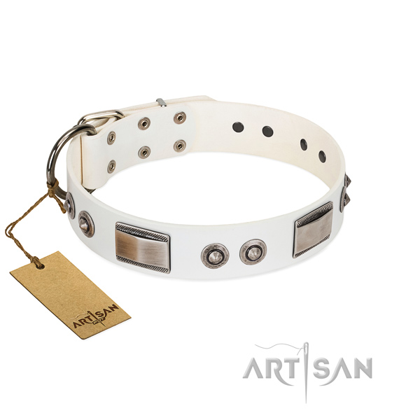 Easy to adjust dog collar of leather with studs