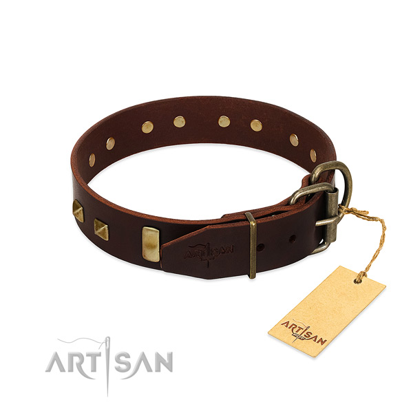Top notch genuine leather dog collar with rust-proof fittings