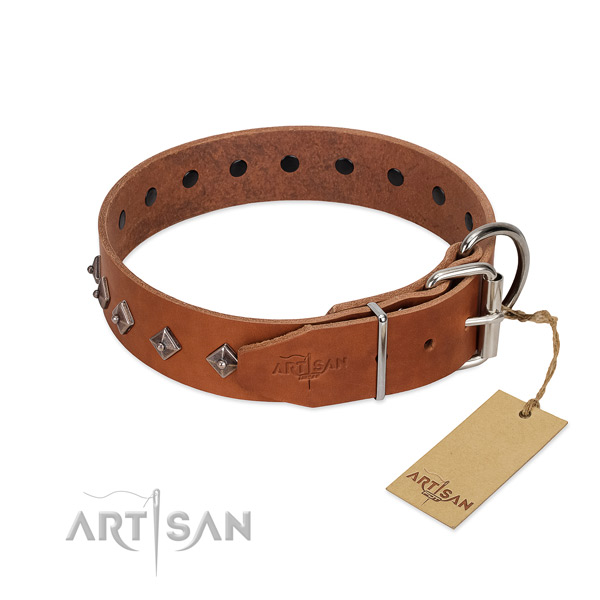 Genuine leather dog collar with awesome decorations for your pet