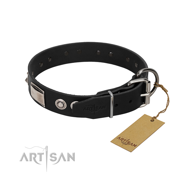 Studded collar of full grain genuine leather for your canine