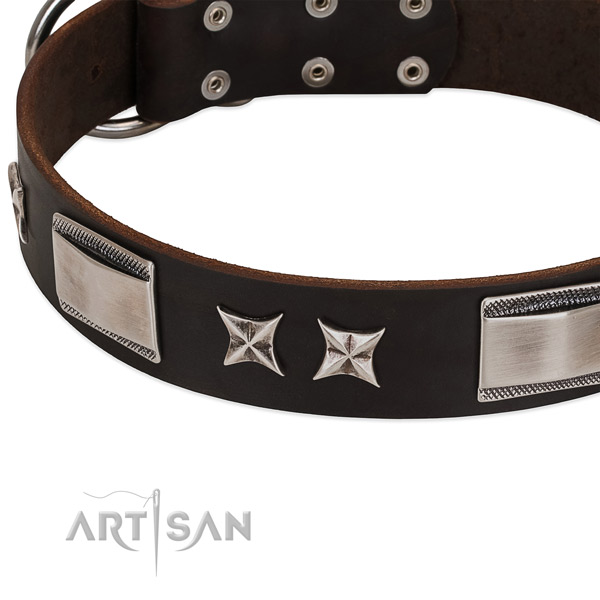 Gentle to touch natural leather dog collar with rust-proof D-ring
