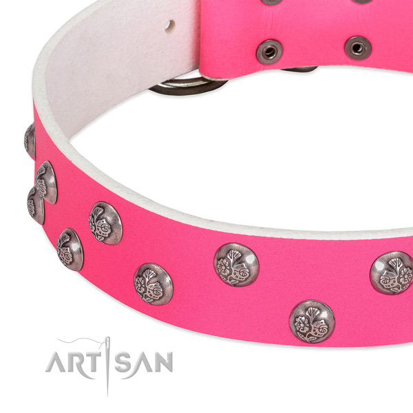 Leather dog collar with corrosion resistant hardware and adornments
