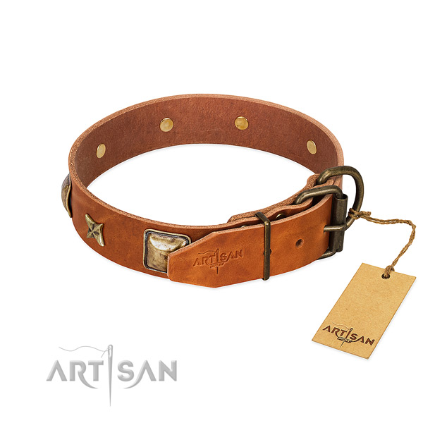 Full grain genuine leather dog collar with corrosion resistant D-ring and adornments