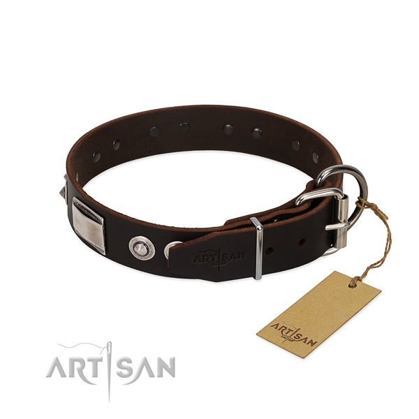 Studded collar of full grain genuine leather for your doggie