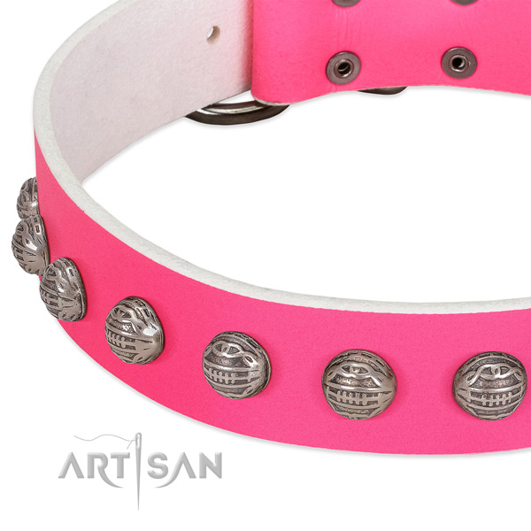 Easy wearing natural leather dog collar with fashionable decorations