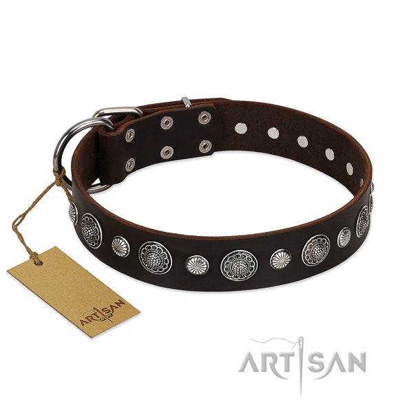 Top quality full grain genuine leather dog collar with inimitable decorations