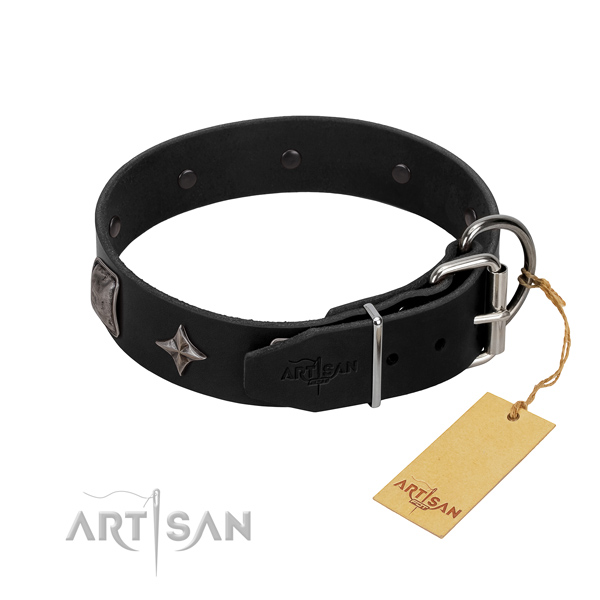 Gentle to touch natural leather dog collar with decorations for easy wearing