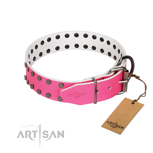 Quality natural leather dog collar with decorations for your doggie