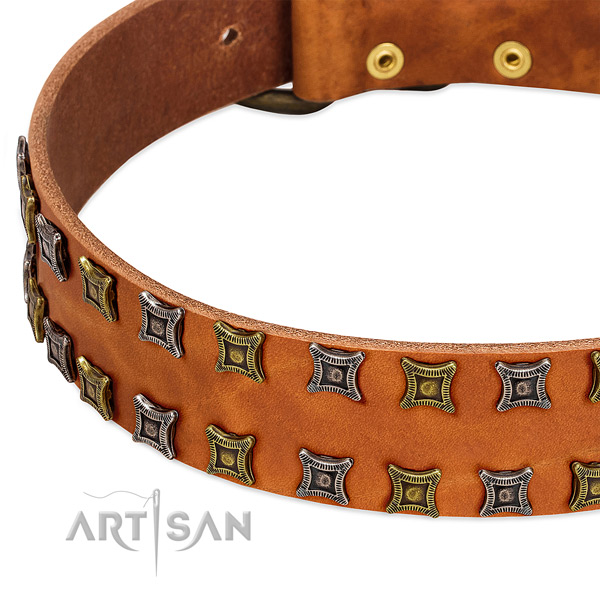 Soft to touch full grain natural leather dog collar for your impressive pet