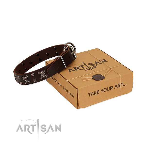 Top rate full grain natural leather dog collar with rust resistant buckle