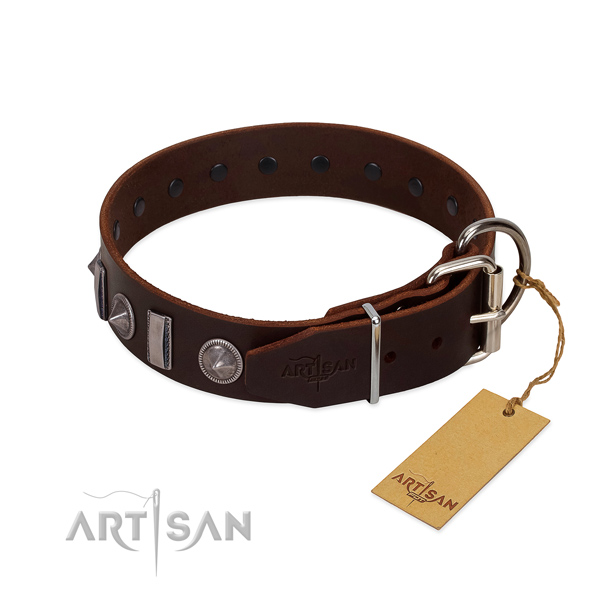 Soft leather dog collar with studs for your handsome doggie