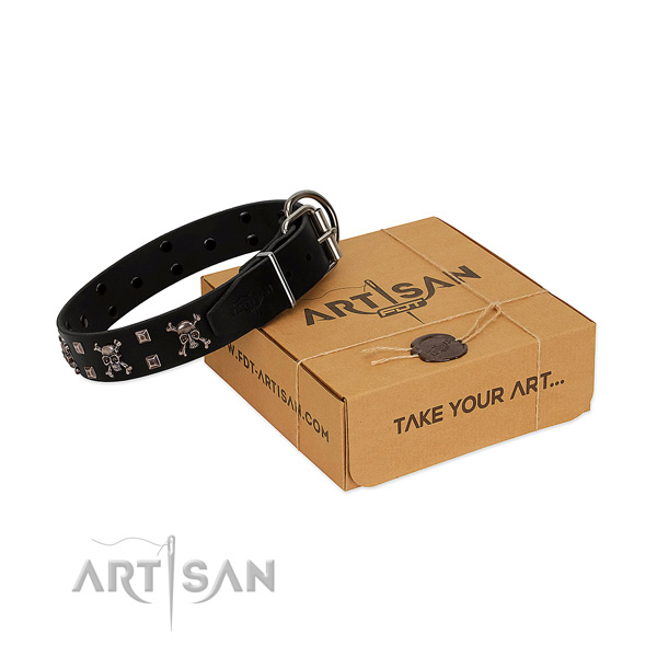 Daily use top rate genuine leather dog collar