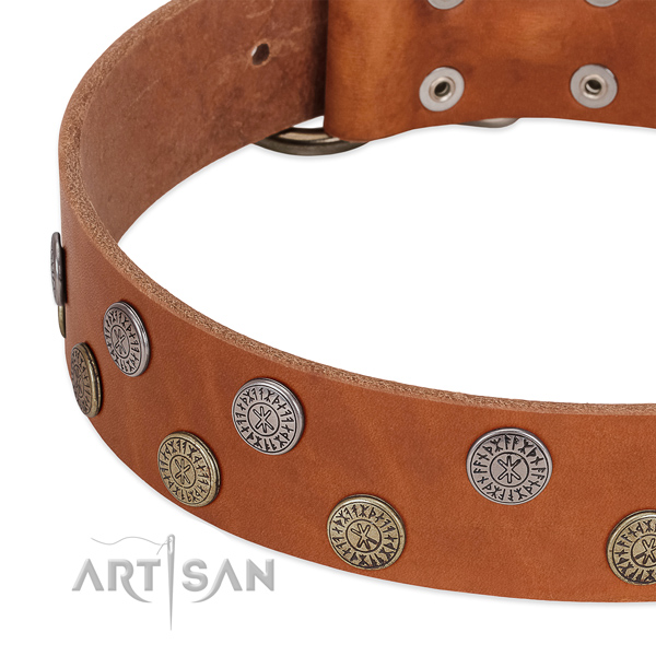 Stunning genuine leather collar for handy use your pet