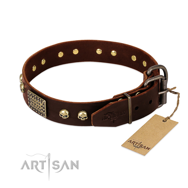 Corrosion proof studs on comfortable wearing dog collar