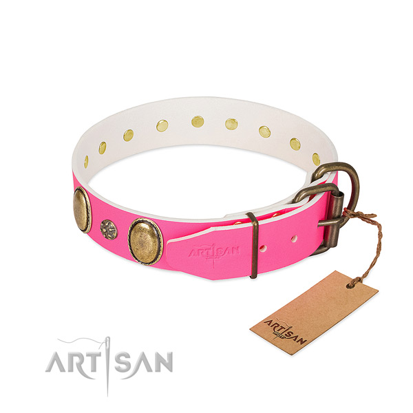 Fancy walking high quality natural genuine leather dog collar with embellishments