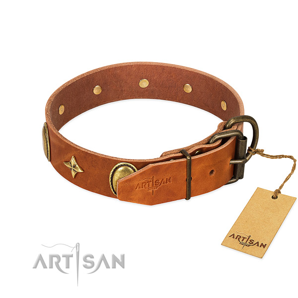 High quality full grain leather dog collar with exceptional decorations