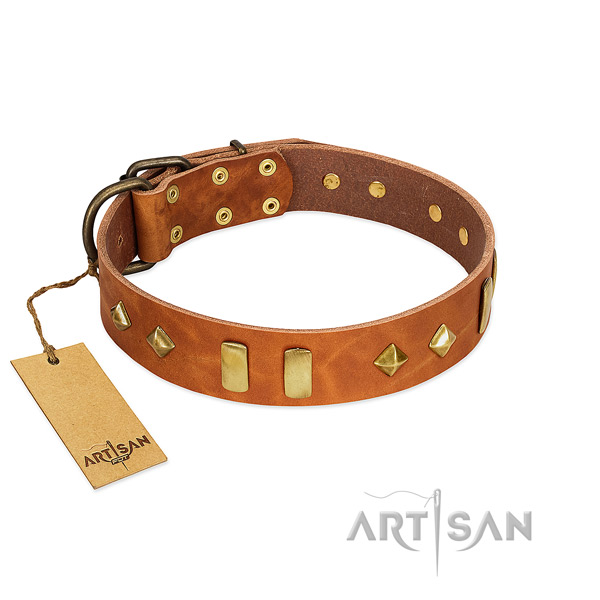 Fancy walking soft to touch full grain genuine leather dog collar with decorations