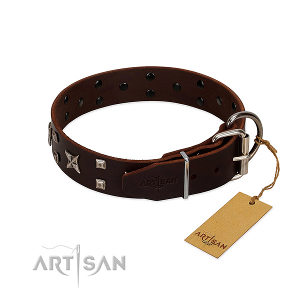 Soft to touch leather collar crafted for your four-legged friend