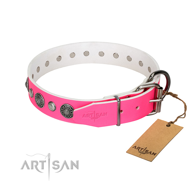 Flexible leather dog collar with corrosion resistant fittings