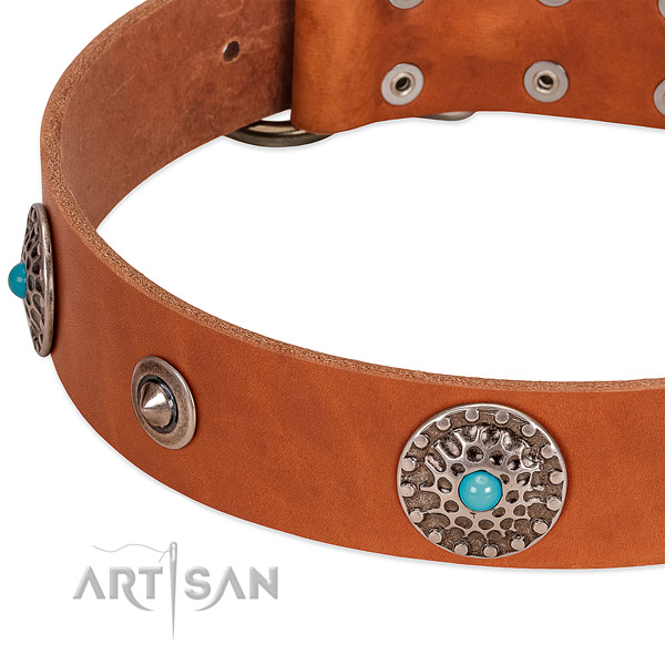 Stylish walking soft full grain genuine leather dog collar with studs