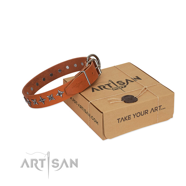 Comfortable wearing dog collar of fine quality leather with studs