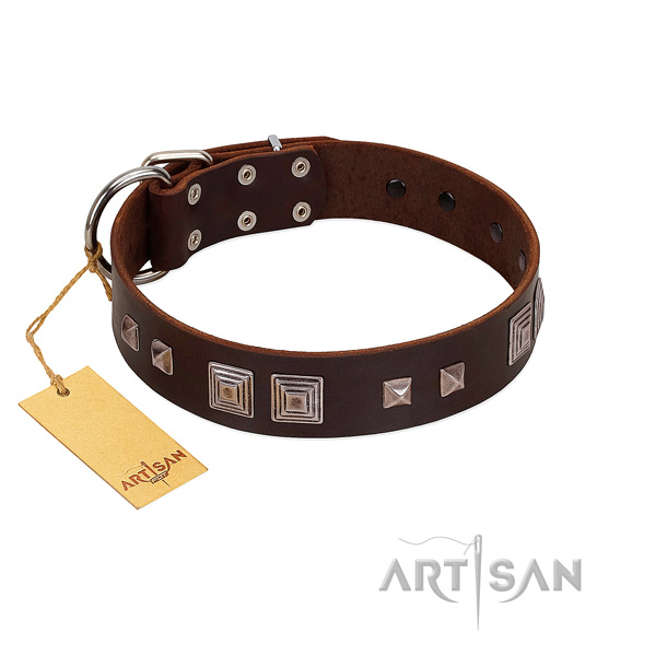 Durable fittings on full grain natural leather dog collar for easy wearing