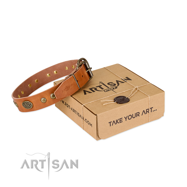Durable fittings on full grain leather dog collar for your canine