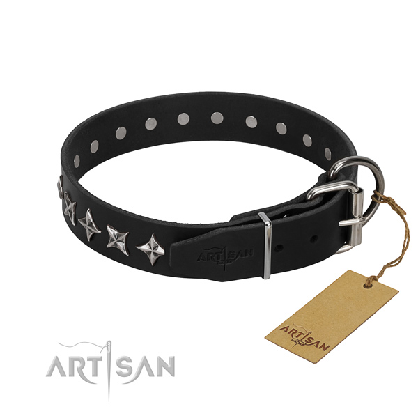 Comfortable wearing adorned dog collar of high quality full grain natural leather