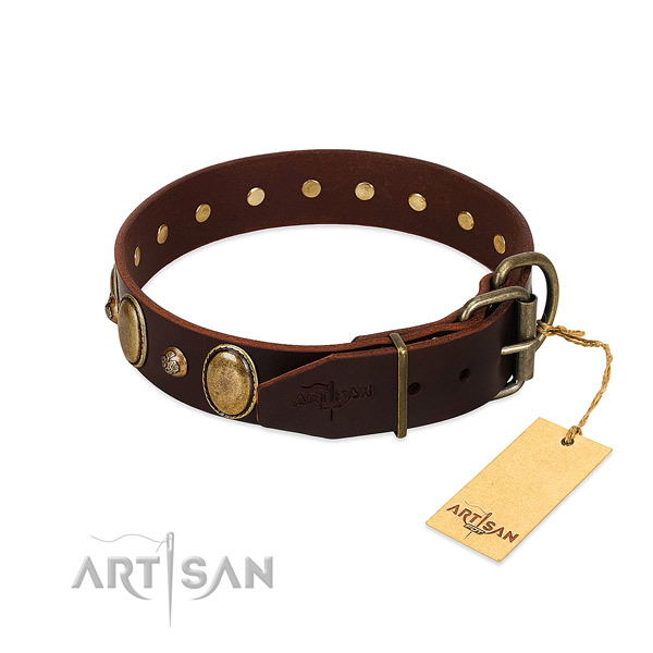 Reliable traditional buckle on natural genuine leather collar for basic training your pet