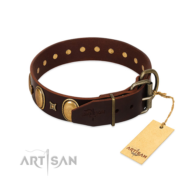 High quality full grain leather collar crafted for your dog