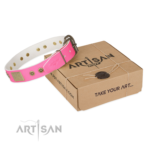 Durable studs on dog collar for comfortable wearing