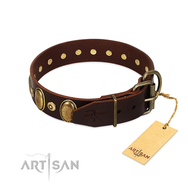 Natural genuine leather dog collar with rust-proof adornments