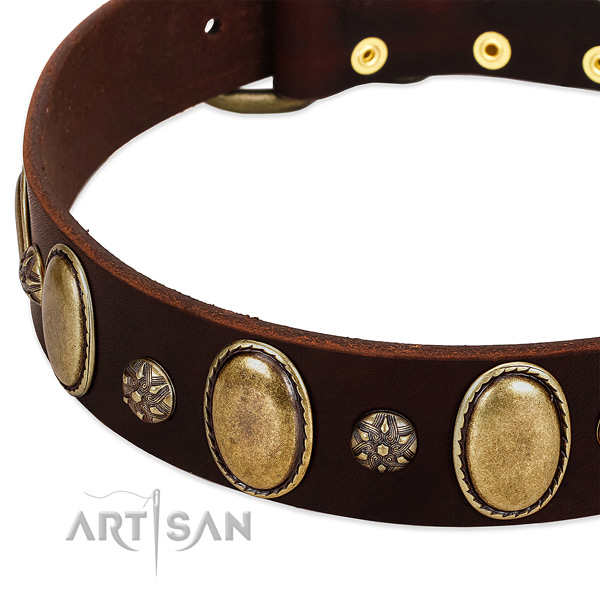 Daily walking soft natural genuine leather dog collar