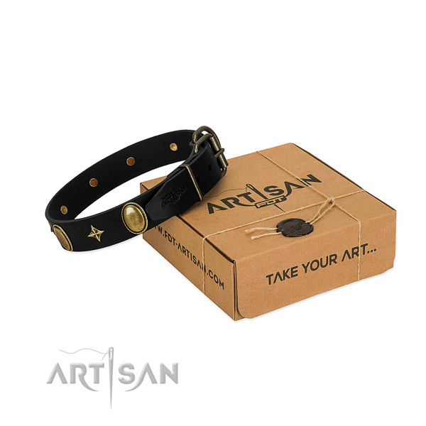 Gentle to touch full grain natural leather collar with rust resistant studs for your doggie