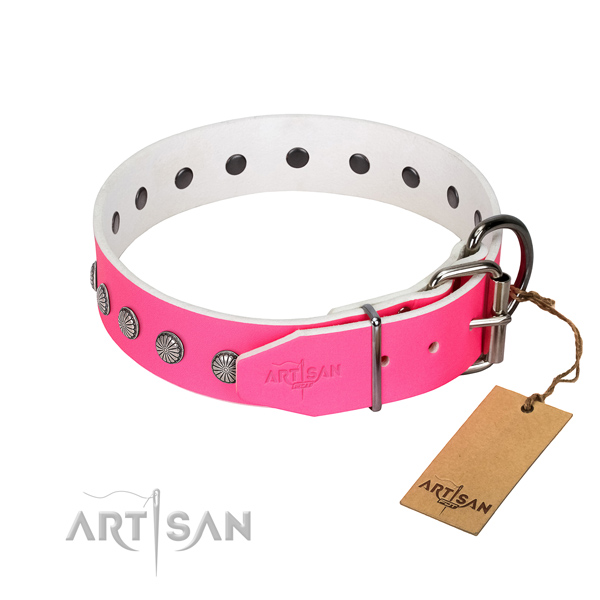 Inimitable genuine leather collar for comfy wearing your canine