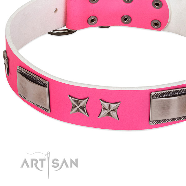 Easy wearing collar of full grain natural leather for your stylish four-legged friend