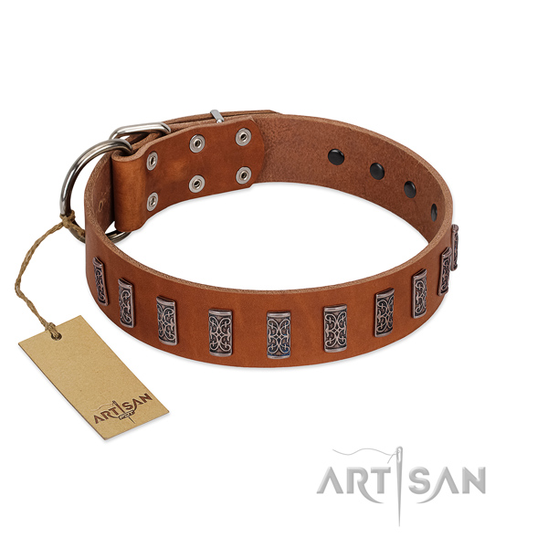 Soft to touch leather dog collar with corrosion proof hardware