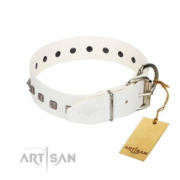 Soft to touch full grain natural leather dog collar with embellishments for comfy wearing